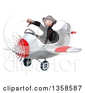 Clipart Of A 3d Chimpanzee Monkey Aviator Pilot Giving A Thumb Down And Flying A White And Red Airplane On A White Background Royalty Free Illustration