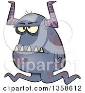 Cartoon Grumpy Purple Horned Monster