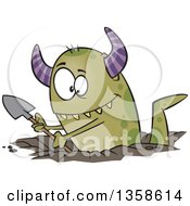 Clipart Of A Cartoon Green Horned Monster Digging A Hole Royalty Free Vector Illustration by toonaday