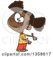 Clipart Of A Cartoon Friendly Black Girl Presenting Or Expressing Someone Elses Turn Royalty Free Vector Illustration