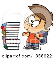Cartoon Brunette White Male School Boy Glaring At A Stack Of Books