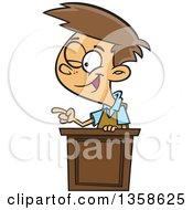 Clipart Of A Cartoon Brunette White School Boy Winking And Giving A Lecture At A Podium Royalty Free Vector Illustration