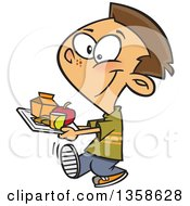 Cartoon Happy Brunette White School Boy Carrying A Cafeteria Lunch Tray