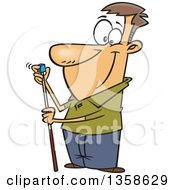 Poster, Art Print Of Cartoon Happy White Man Chalking Up His Billiards Cue Stick