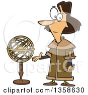 Cartoon Astronomer Nicolaus Copernicus Presenting A Model Of The Universe