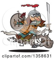 Cartoon Man Genghis Khan Riding Into Battle On Horseback