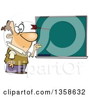 Clipart Of A Cartoon Surprised White Male Teacher Paused In Mid Motion Of Writing On A Chalkboard As A Protesting Student Throws A Dart At His Head Royalty Free Vector Illustration