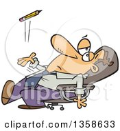 Cartoon Bored White Executive Businessman Leaning Back In His Chair And Tossing A Pencil