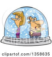Clipart Of A Cartoon Unhappy White Couple Isolated In A Snow Globe Royalty Free Vector Illustration