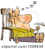 Clipart Of A Cartoon Happy White Man Sleeping In A Turkey Coma After Thanksgiving Feast Royalty Free Vector Illustration