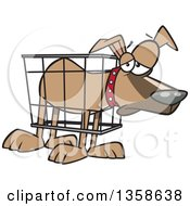 Clipart Of A Cartoon Unhappy Dog In A Cramped Crate Royalty Free Vector Illustration