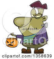 Clipart Of A Cartoon Halloween Frankenstein Trick Or Treating With A Pumpkin Basket Royalty Free Vector Illustration by Ron Leishman