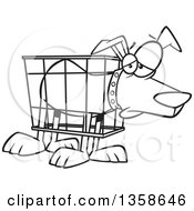 Lineart Clipart Of A Cartoon Black And White Unhappy Dog In A Cramped Crate Royalty Free Outline Vector Illustration