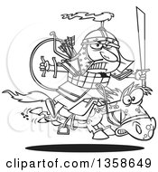 Lineart Clipart Of A Cartoon Black And White Man Genghis Khan Riding Into Battle On Horseback Royalty Free Outline Vector Illustration by toonaday