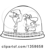 Lineart Clipart Of A Cartoon Black And White Unhappy Couple Isolated In A Snow Globe Royalty Free Outline Vector Illustration by toonaday