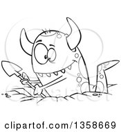 Cartoon Black And White Horned Monster Digging A Hole