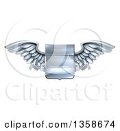 Clipart Of A 3d Steel Metal Heraldic Winged Shield With A Blank Banner Ribbon Royalty Free Vector Illustration