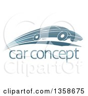 Shiny Blue Sports Car Zooming By Over Sample Text