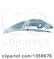 Clipart Of A Shiny Blue Sports Car Zooming By Royalty Free Vector Illustration by AtStockIllustration