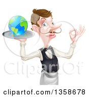 Clipart Of A Cartoon Caucasian Male Waiter With A Curling Mustache Gesturing Ok And Holding Earth On A Tray Royalty Free Vector Illustration