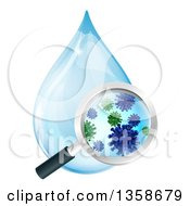 Clipart Of A Magnifying Glass Discovering Microscopic Bacteria In A Water Drop Royalty Free Vector Illustration