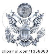Clipart Of A 3d Silver Great Seal Of The United States With A Bald Eagle Holding An Olive Branch And Arrows An American Flag Body And E Pluribus Unum Scroll And Stars Over His Head Royalty Free Vector Illustration