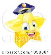 Clipart Of A 3d Happy Golden Police Office Star Emoji Emoticon Character Wearing A Hat Royalty Free Vector Illustration by AtStockIllustration