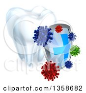Clipart Of A 3d Dental Shield Protecting A Tooth From Germs Royalty Free Vector Illustration by AtStockIllustration