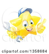 Clipart Of A 3d Happy Golden Mechanic Star Emoji Emoticon Character Wearing A Hat Giving A Thumb Up And Holding A Wrench Royalty Free Vector Illustration