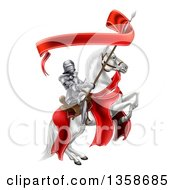 Clipart Of A 3d Fully Armored Medieval Knight On A Rearing White Horse Holding A Banner Ribbon On A Spear Royalty Free Vector Illustration