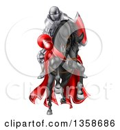 Clipart Of A 3d Fully Armored Jousting Knight Charging Forward With A Lance On A Black Horse Royalty Free Vector Illustration