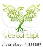 Clipart Of A Gradient Green Tree In The Shape Of A Phoenix Bird Over Sample Text Royalty Free Vector Illustration by AtStockIllustration