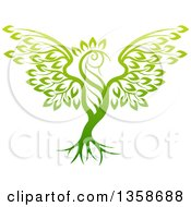Gradient Green Tree In The Shape Of A Phoenix Bird