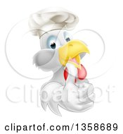 Cartoon Happy White Chef Chicken Wearing A Toque Hat And Giving A Thumb