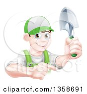 Clipart Of A Happy Young Brunette White Male Gardener In Green Pointing And Holding A Shovel Royalty Free Vector Illustration