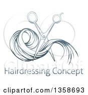 Clipart Of Gradient Blue Scissors Cutting Hair Over Sample Text Royalty Free Vector Illustration