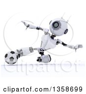 Clipart Of A 3d Futuristic Robot Kicking A Soccer Ball On A Shaded White Background Royalty Free Illustration