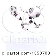 3d Futuristic Robot Kicking A Soccer Ball On A Shaded White Background