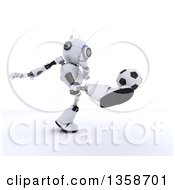 Clipart Of A 3d Futuristic Robot Kicking A Soccer Ball On A Shaded White Background Royalty Free Illustration by KJ Pargeter