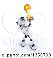 Clipart Of A 3d Futuristic Robot Soccer Player Holding Up A Gold Trophy On A Shaded White Background Royalty Free Illustration