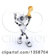 Clipart Of A 3d Futuristic Robot Soccer Player Holding Up A Gold Trophy On A Shaded White Background Royalty Free Illustration by KJ Pargeter