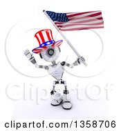 Clipart Of A 3d Futuristic Robot Uncle Sam Waving And Holding An American Flag On A Shaded White Background Royalty Free Illustration