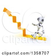 Clipart Of A 3d Futuristic Robot Walking On An Upward Arrow Staircase On A Shaded White Background Royalty Free Illustration