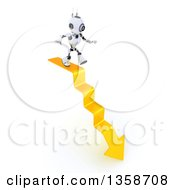 Clipart Of A 3d Futuristic Robot Walking On A Downward Arrow Staircase On A Shaded White Background Royalty Free Illustration
