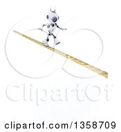 3d Futuristic Robot Walking A Tight Rope On A Shaded White Background