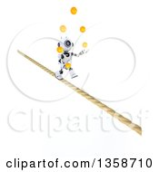 Clipart Of A 3d Futuristic Robot Juggling Balls And Walking A Tight Rope On A Shaded White Background Royalty Free Illustration
