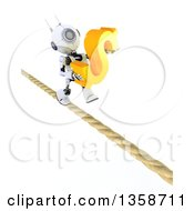 3d Futuristic Robot Carrying A Dollar Currency Symbol And Walking A Tight Rope On A Shaded White Background
