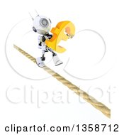 Clipart Of A 3d Futuristic Robot Carrying A Lira Currency Symbol And Walking A Tight Rope On A Shaded White Background Royalty Free Illustration
