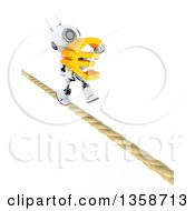3d Futuristic Robot Carrying A Euro Currency Symbol And Walking A Tight Rope On A Shaded White Background