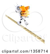Clipart Of A 3d Futuristic Robot Carrying A Yen Currency Symbol And Walking A Tight Rope On A Shaded White Background Royalty Free Illustration